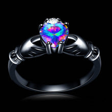 Load image into Gallery viewer, ENXICO Black Caddagh Heart Ring for Women with Blue Stone ? 316L Stainless Steel ? Irish Celtic Jewelry