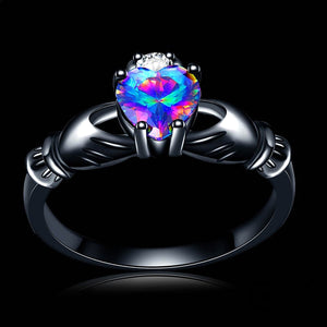 ENXICO Black Caddagh Heart Ring for Women with Blue Stone ? 316L Stainless Steel ? Irish Celtic Jewelry