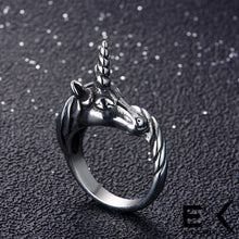 Load image into Gallery viewer, ENXICO Black Unicorn Ring for Men ? Best Gift for Unicorn Lover ? 316L Stailess Steel ? Legendary Animal Jewelry