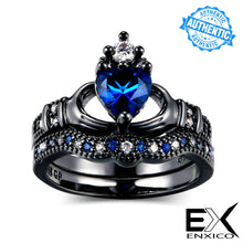 Load image into Gallery viewer, ENXICO Black and Blue Caddagh Heart Ring Set for Women ? 316L Stainless Steel ? Irish Celtic Jewelry