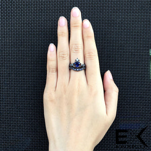 ENXICO Black and Blue Caddagh Heart Ring Set for Women ? 316L Stainless Steel ? Irish Celtic Jewelry