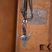 Load image into Gallery viewer, ENXICO Bull Skull Pendant with Leather Necklace ? Animal Spirit Totem ? Tribal Animal Skull Style Jewelry