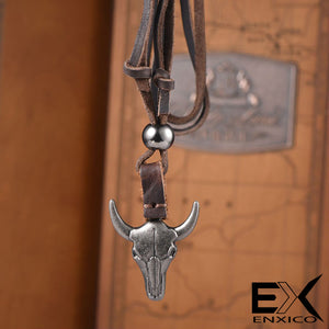 ENXICO Bull Skull Pendant with Leather Necklace ? Animal Spirit Totem ? Tribal Animal Skull Style Jewelry