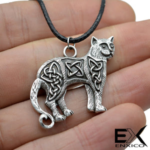 ENXICO Cat Pendant Necklace with Celtic Knots Pattern ? Celtic Zodiac Animal Spirit Symbol ? Irish Celtic Jewelry (Silver)