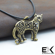 Load image into Gallery viewer, ENXICO Cat Pendant Necklace with Celtic Knots Pattern ? Celtic Zodiac Animal Spirit Symbol ? Irish Celtic Jewelry (Silver)