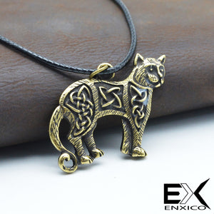 ENXICO Cat Pendant Necklace with Celtic Knots Pattern ? Celtic Zodiac Animal Spirit Symbol ? Irish Celtic Jewelry