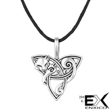 Load image into Gallery viewer, GUNGNEER Celtic Cat with Triquetra Knot Pendant Necklace ? Celtic Zodiac Animal Symbol ? Irish Celtic Jewelry