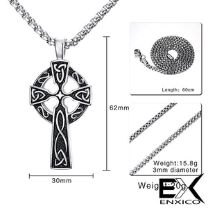 ENXICO Celtic Cross Pendant Necklace ? 316L Stainless Steel ? Irish Celtic Jewelry … (Gold)