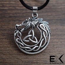 Load image into Gallery viewer, ENXICO Celtic Wolf Pendant Necklace with Triquetra Celtic Knot Pattern ? Zodiac Animal Spirit Totem ? Irish Celtic Jewelry