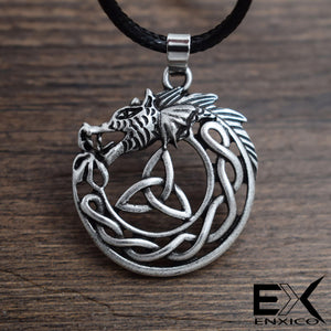 ENXICO Celtic Wolf Pendant Necklace with Triquetra Celtic Knot Pattern ? Zodiac Animal Spirit Totem ? Irish Celtic Jewelry