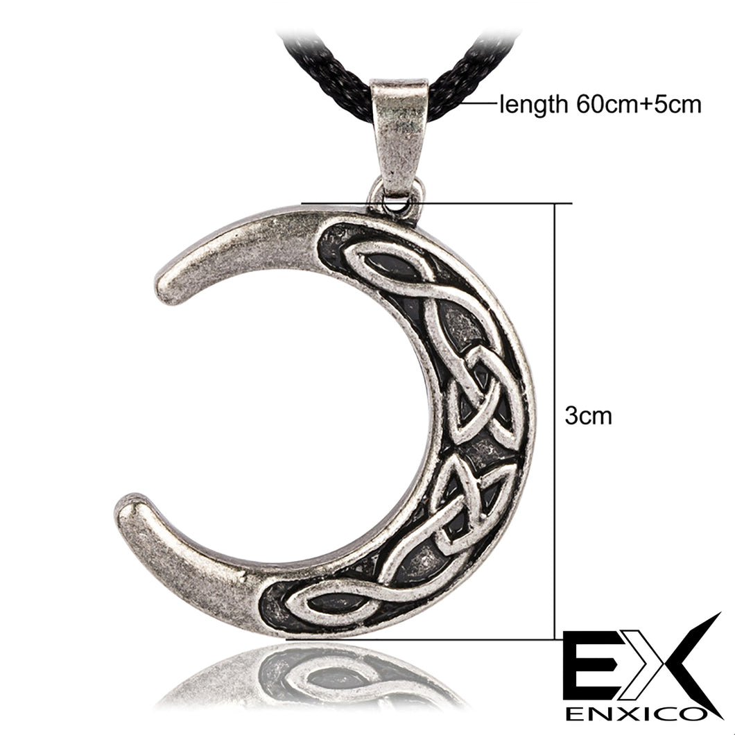 ENXICO Crescent Moon Amulet Pendant Necklace with Celtic Knot Pattern ? Light Grey Color ? Norse Scandinavian Viking Jewelry