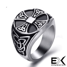 Load image into Gallery viewer, ENXICO Cross Ring with Triquetra Celtic Knot Pattern ? 316L Stainless Steel ? Irish Celtic Jewelry