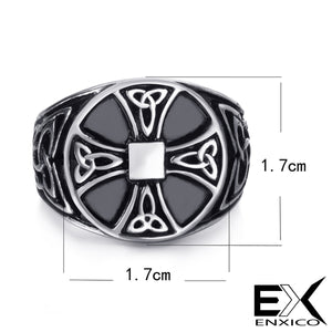 ENXICO Cross Ring with Triquetra Celtic Knot Pattern ? 316L Stainless Steel ? Irish Celtic Jewelry