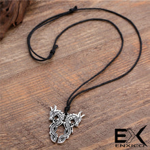 Load image into Gallery viewer, ENXICO Double Norse Viking Dragon Pendant Necklace ? Mythological Animal Spirit Symbol ? Nordic Scandinavian Jewelry (Gold Plated)