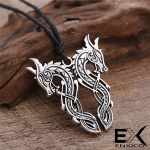 ENXICO Double Norse Viking Dragon Pendant Necklace ? Mythological Animal Spirit Symbol ? Nordic Scandinavian Jewelry