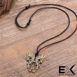 ENXICO Double Norse Viking Dragon Pendant Necklace ? Mythological Animal Spirit Symbol ? Nordic Scandinavian Jewelry (Gold Plated)