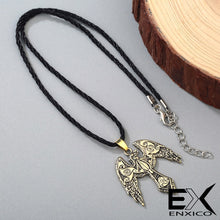 Load image into Gallery viewer, ENXICO Flying Raven Amulet Pendant Necklace with Triskele Spiral Pattern ? Gold Color ? Norse Scandinavian Viking Jewelry