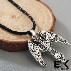ENXICO Flying Raven Amulet Pendant Necklace with Triskele Spiral Pattern ? Gold Color ? Norse Scandinavian Viking Jewelry