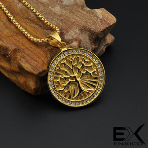 ENXICO Golden Tree of Life Pendant Necklace ? 316 L Stainless Steel ? World Tree Jewelry for Women