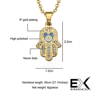 ENXICO Hansa The Hand of Fatima Charm Pendant Necklace ? 316L Stainless Steel ? Ancient Jewish Jewelry