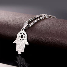 Load image into Gallery viewer, ENXICO Hansa The Hand of Fatima with Star of David Charm Pendant Necklace ? 316L Stainless Steel ? Ancient Jewish Jewelry