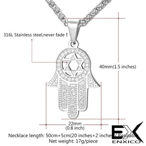 ENXICO Hansa The Hand of Fatima with Star of David Charm Pendant Necklace ? 316L Stainless Steel ? Ancient Jewish Jewelry