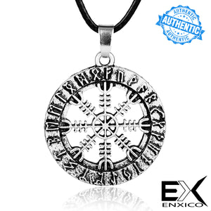 ENXICO Helm of Awe Pendant Necklace with Surrounding Rune Circle ? Nordic Scandinavian Viking Jewelry