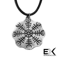 Load image into Gallery viewer, ENXICO Helm of Awe The Aegishjalmur Amulet Pendant Necklace ? Norse Scandinavian Viking Jewelry (Bronze)