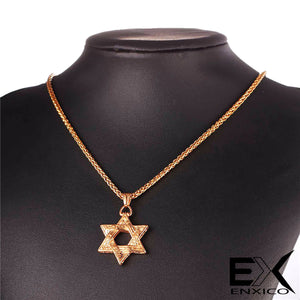 ENXICO Hexagram Star of David Pendant Necklace ? 316L Stainless Steel ? Historical Jewish Symbol Jewelry
