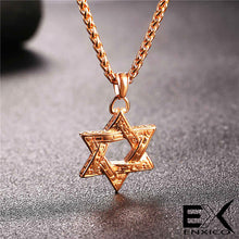 Load image into Gallery viewer, ENXICO Hexagram Star of David Pendant Necklace ? 316L Stainless Steel ? Historical Jewish Symbol Jewelry