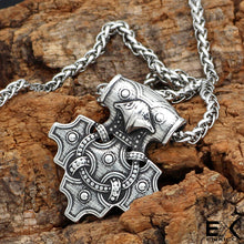 Load image into Gallery viewer, ENXICO Hiddensee Thor's Hammer Pendant Necklace ? 316L Stainless Steel ? Nordic Scandinavian Viking Jewelry