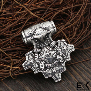 ENXICO Hiddensee Thor's Hammer Pendant Necklace ? 316L Stainless Steel ? Nordic Scandinavian Viking Jewelry