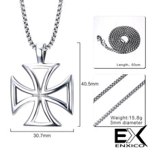 Load image into Gallery viewer, ENXICO Knights Templar Cross Pendant Necklace ? 316L Stainless Steel ? Christian Jewelry