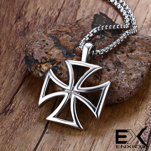 ENXICO Knights Templar Cross Pendant Necklace ? 316L Stainless Steel ? Christian Jewelry