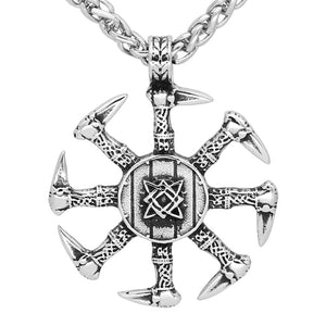 ENXICO Kolovrat Slavic Sun Wheel Pendant Necklace ? 316L Stainless Steel ? Ancient Slavic Jewelry