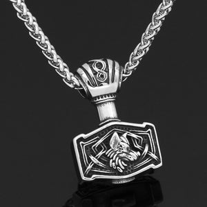 ENXICO Mjolnir Pendant Necklace with Wolf Head Pattern ? 316L Stainless Steel ? Nordic Scandinavian Viking Jewelry