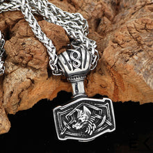 Load image into Gallery viewer, ENXICO Mjolnir Pendant Necklace with Wolf Head Pattern ? 316L Stainless Steel ? Nordic Scandinavian Viking Jewelry