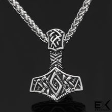 Load image into Gallery viewer, ENXICO Mjolnir Thor's Hammer Pendant Necklace ? 316L Stainless Steel ? Nordic Scandinavian Viking Jewelry