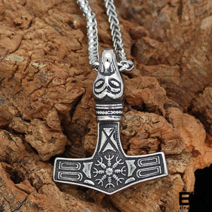 ENXICO Mjolnir Thor's Hammer Pendant Necklace with Helm of Awe Pattern ? 316L Stainless Steel ? Nordic Scandinavian Viking Jewelry