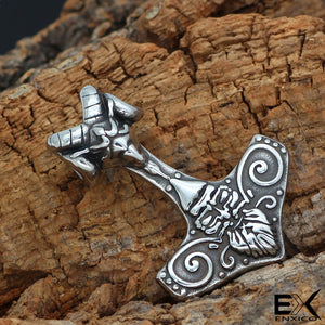 ENXICO Mjolnir Thor's Hammer Pendant Necklace with Ram Skull ? 316L Stainless Steel ? Nordic Scandinavian Viking Jewelry