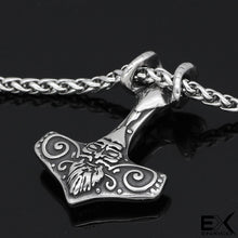 Load image into Gallery viewer, ENXICO Mjolnir Thor's Hammer Pendant Necklace with Ram Skull ? 316L Stainless Steel ? Nordic Scandinavian Viking Jewelry