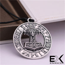 Load image into Gallery viewer, ENXICO Mjolnir Thor's Hammer Pendant Necklace with Surrounding Rune Circle ? Gold Color ? Nordic Scandinavian Viking Jewelry