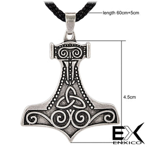 ENXICO Mjolnir Thor's Hammer Pendant Necklace with Triquetra Symbol Pattern ? Nordic Scandinavian Viking Jewelry