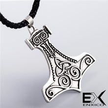 Load image into Gallery viewer, ENXICO Mjolnir Thor's Hammer Pendant Necklace with Triquetra Symbol Pattern ? Nordic Scandinavian Viking Jewelry
