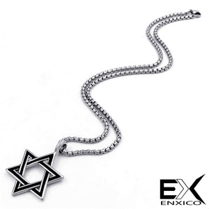 ENXICO Star of David Amulet Hexagram Pendant Necklace ? 316L Stainless Steel (20)