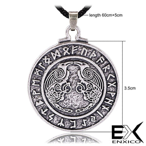 ENXICO Odin's Ravens Huginn and Muninn Amulet Pendant Necklace with Rune Circle Surrounding ? Light Grey Color ? Norse Scandinavian Viking Jewelry