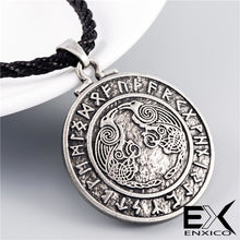 Load image into Gallery viewer, ENXICO Odin's Ravens Huginn and Muninn Amulet Pendant Necklace with Rune Circle Surrounding ? Light Grey Color ? Norse Scandinavian Viking Jewelry