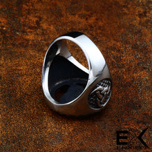 Load image into Gallery viewer, ENXICO Odin's Symbol The Tripple Horn Ring ? 316L Stainless Steel ? Norse Scandinavian Viking Jewelry