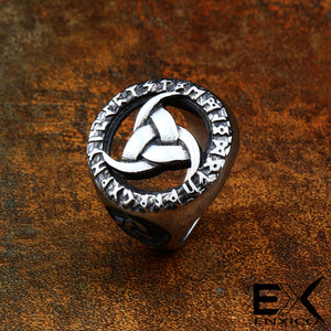 ENXICO Odin's Symbol The Tripple Horn Ring ? 316L Stainless Steel ? Norse Scandinavian Viking Jewelry