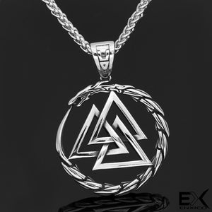 ENXICO Odin's Valknut with Jormungandr Midgard Serpent Surrounding Pendant Necklace ? 316L Stainless Steel ? Nordic Scandinavian Viking Jewelry